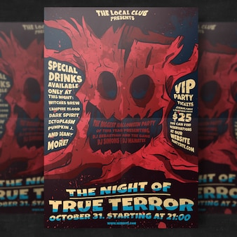 Spooky halloween party flyer template