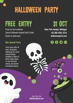 Spooky halloween party with skeleton and ghost