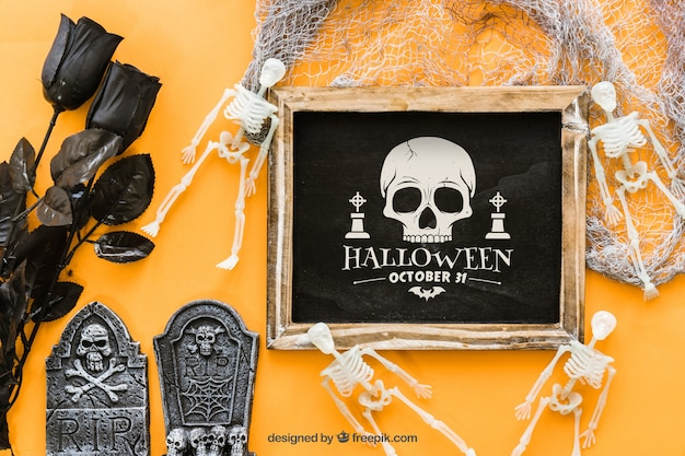 Spooky halloween slate mockup