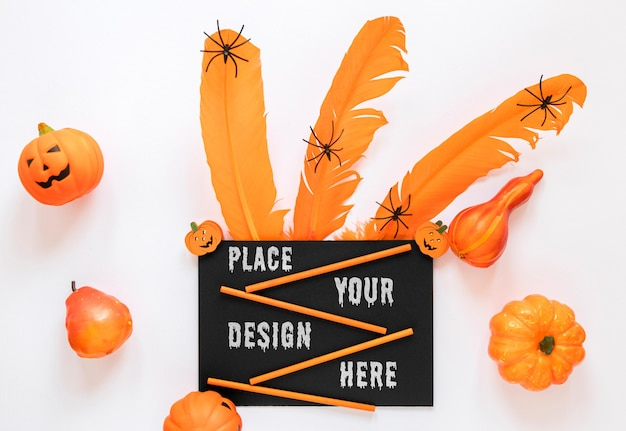 Spooky mock-up design with little spiders