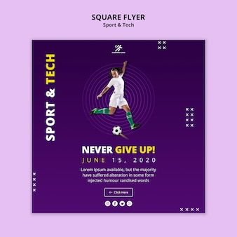 Sport activity with woman playing  football square flyer
