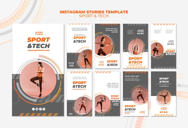 スポーツとテクノロジーのinstagramストーリーテンプレート 無料 Psd