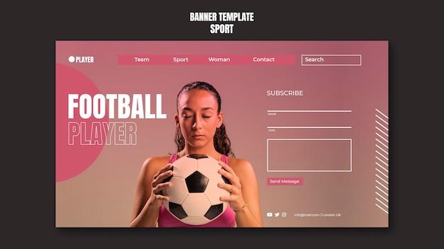 サッカーをしている女性の写真とスポーツバナーテンプレート
