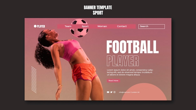 Шаблон спортивного баннера с фотографией женщины, играющей в футбол