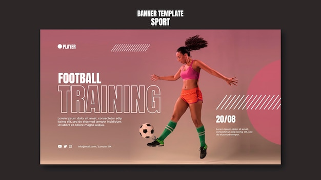 Sport banner template with photo of woman playing football