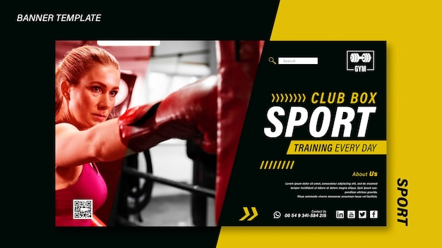 Modello di banner sportivo con foto Psd Gratuite