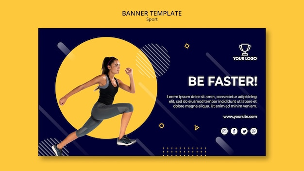 Sport banner template with woman exercising