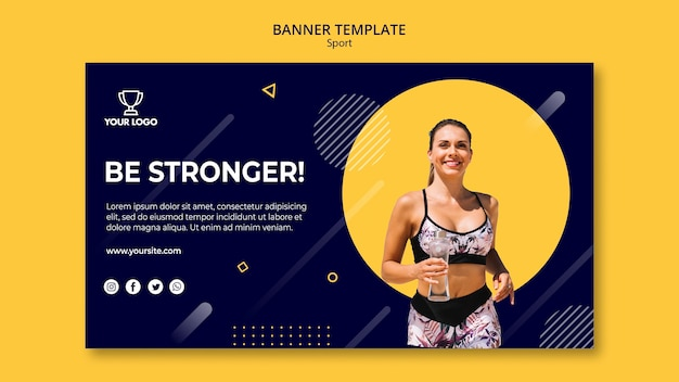 Sport banner template with woman running