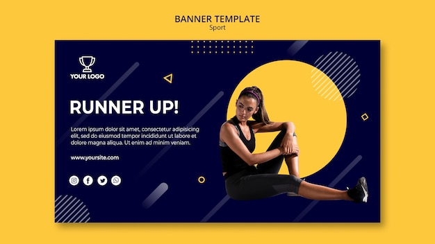Sport banner template with woman