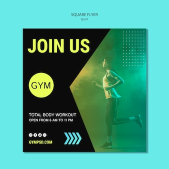 Sport business square flyer template