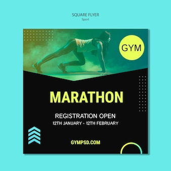 Sport business template square flyer