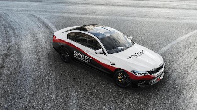 Sport car on the street mockup
