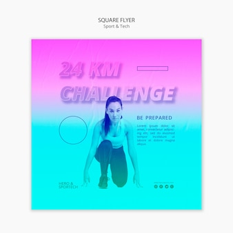 Sport challenge workout square flyer