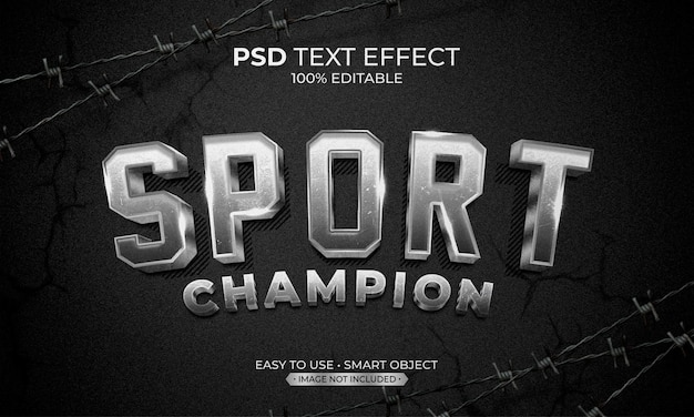 Спорт чемпион серебряный текст эффект