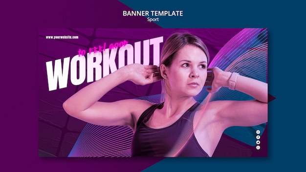 Спортивная концепция дизайн шаблона баннера