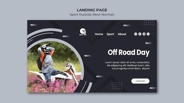 Sport concept landing page template