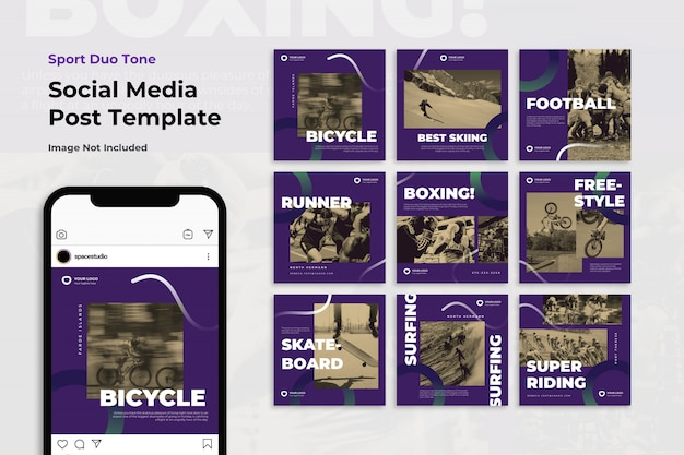 Sport duotone instagram post template set