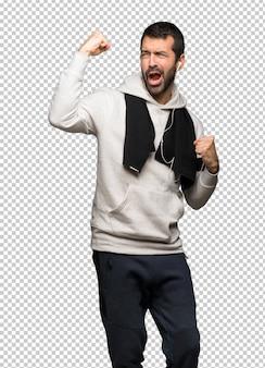 Sport man celebrating a victory