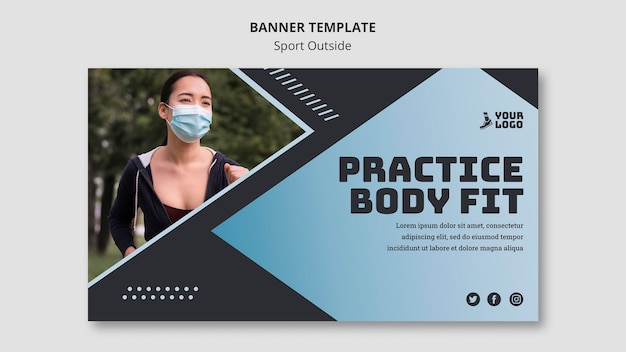 Sport outside banner template design
