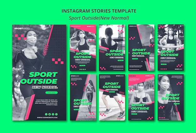 Sport outside concept instagram stories
