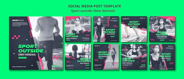 Sport outside concept social media post