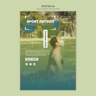 Sport outside poster template concept