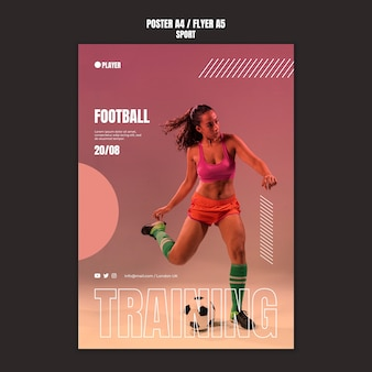 Sport poster template with photo of woman playing football