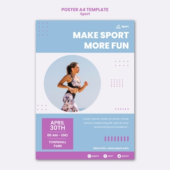 Modello di stampa sportiva con foto