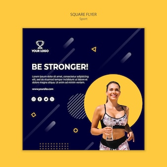Sport square flyer template with woman running