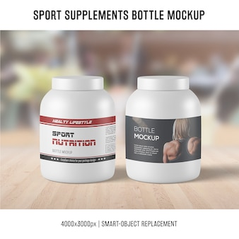 Sport supplements bottle mockup