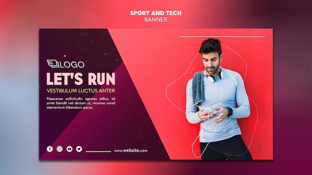 Sport e tecnologia modello di progettazione banner