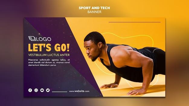 Modello di banner sport e tecnologia