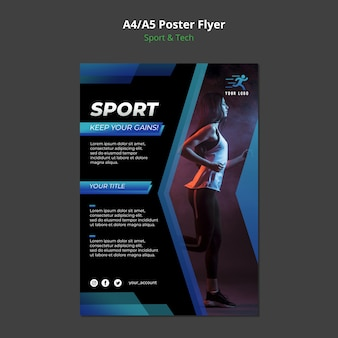 Sport & tech concept poster mock-up