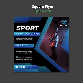 Sport & tech concept square flyer mock-up