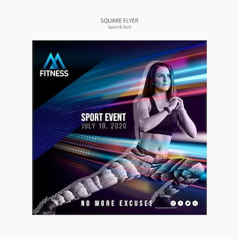 Sport and tech fitness square flyer