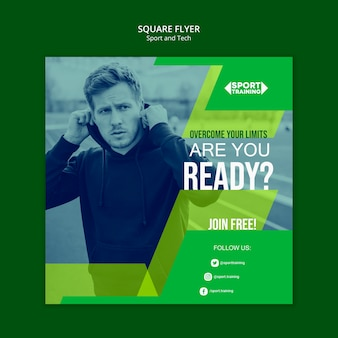 Sport and tech square flyer template