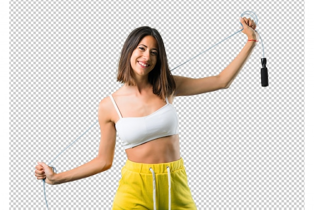 Sport woman with jumping rope
