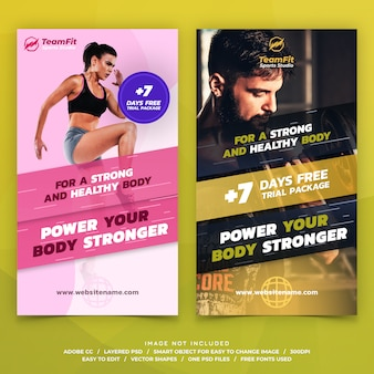 Sports instagram stories template banners