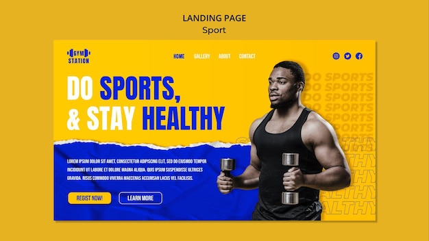 Crea un modello di pagina di destinazione sportiva