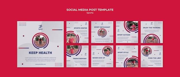 Modello di post sui social media sportivi