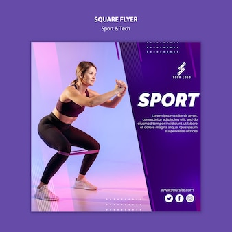 Sports and tech square flyer template
