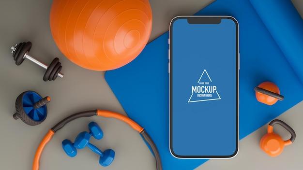 自宅のスマートフォン画面モックアップからスポーツジム機器のエクササイズを行うスポーツトレーニングプログラム