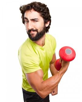 Sportsman showing his biceps