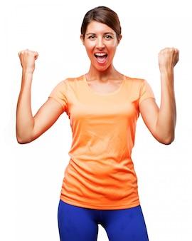 Sportswoman celebrating her victory