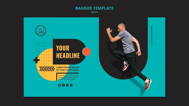 Sporty man running sideways banner template