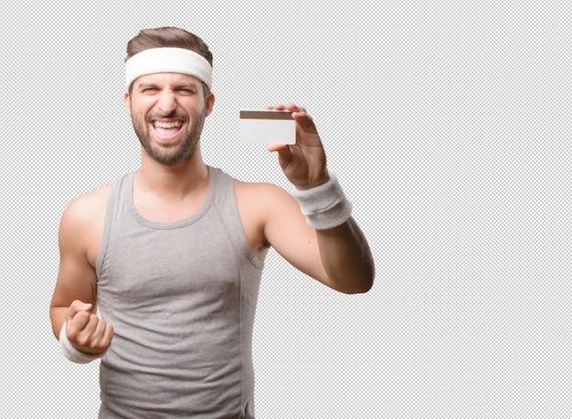 Спортивный человек с указанием кредитной карты