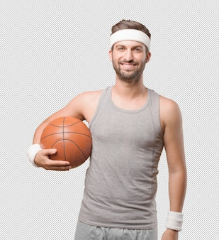 Sporty man with basketball