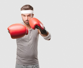 Sporty man with boxing gloves