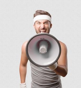 Спортивный человек с мегафоном