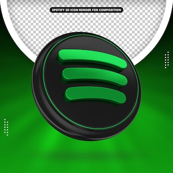 Spotify 3d render icon for composition